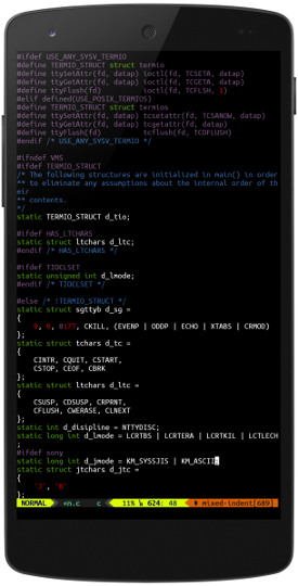 Termux running VIM as seen on the office webpage